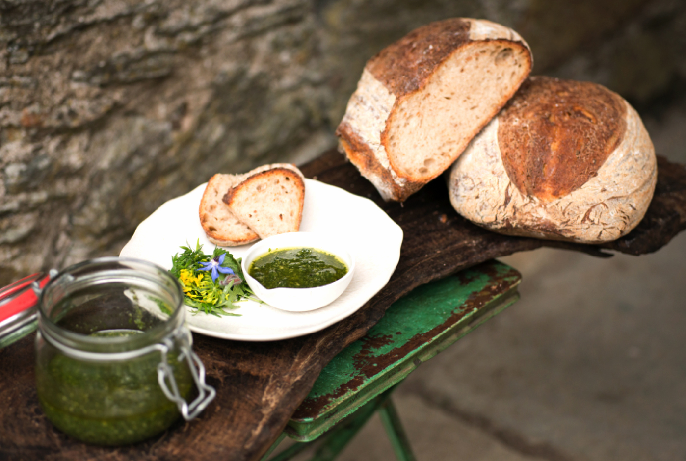 Nettle, Rocket and Pumpkin Seed Pesto - Tom Lewis, Monachyle Mhor